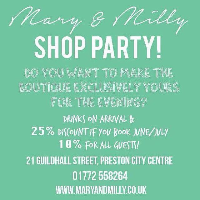 Did you know that you have the opportunity to make the boutique exclusively yours for the evening with Mary & Milly?!! We host shop parties for all with great discounts for the host and guests too! Book yours today!! M&M x