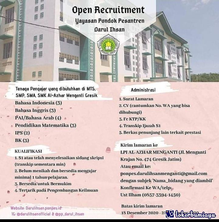 Lowongan Kerja Yayasan Pondok Pesantren Darul Ihsan Pondok Smp Pendidikan