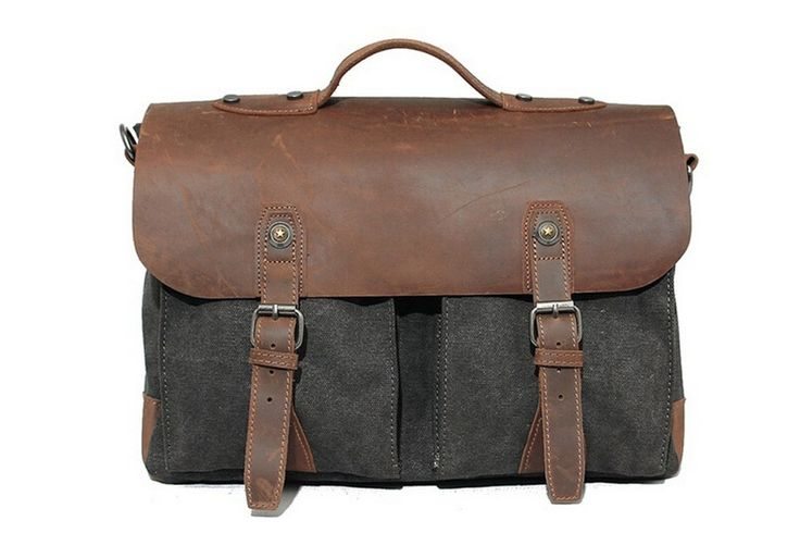 Bags : Handcrafted Vintage Leather Waxed Canvas Messenger Bag