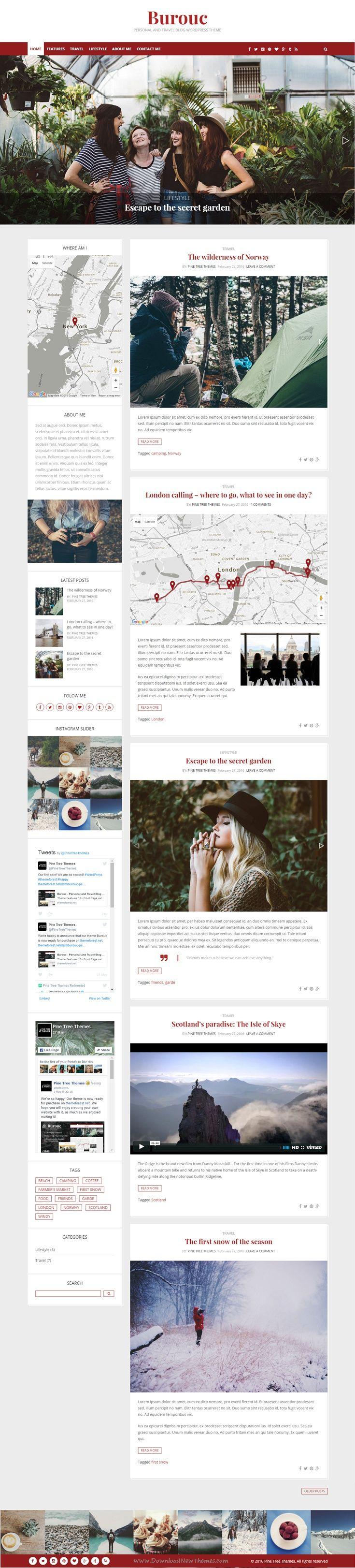 Burouc Responsive Personal and Travel #Blog #WordPress Theme
