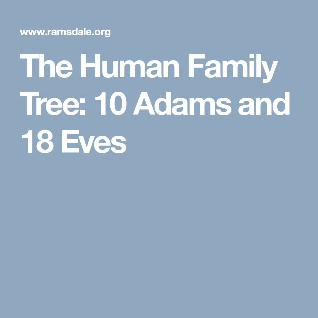 The Human Family Tree: 10 Adams and 18 Eves