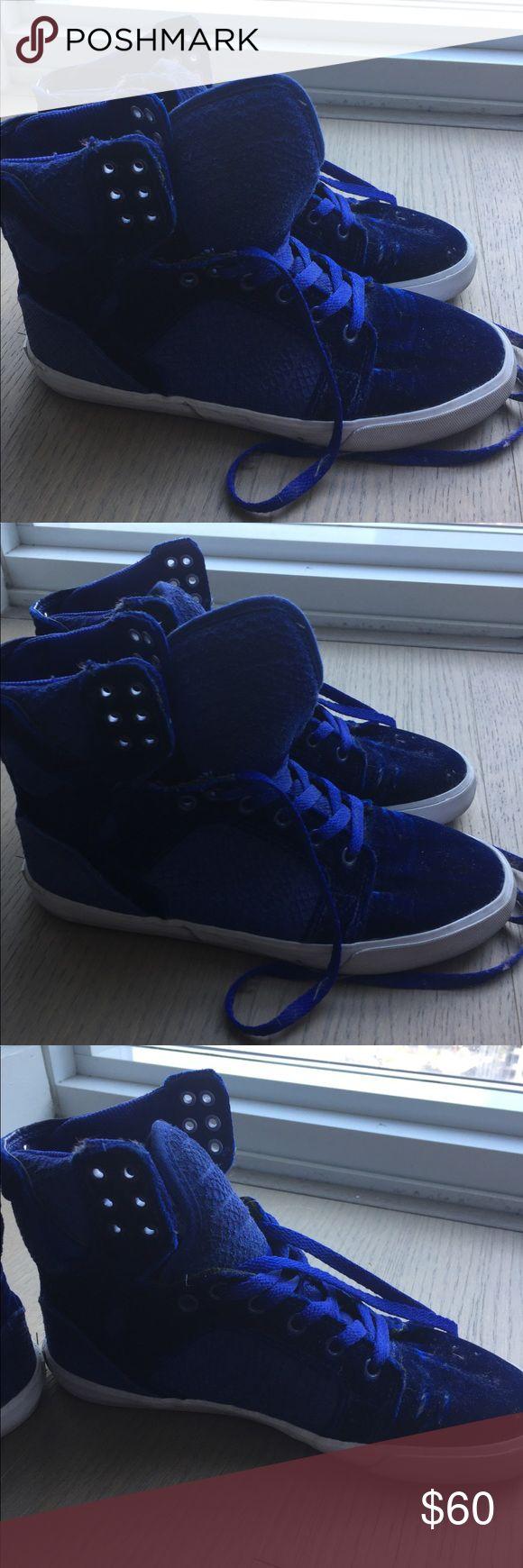 Supra high tops (cobalt blue velvet) Cobalt blue velvet high tops Supra Shoes Sneakers