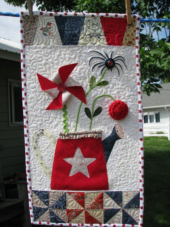 Quilted Wall Hanging Patriotic Wall Hanging Red White