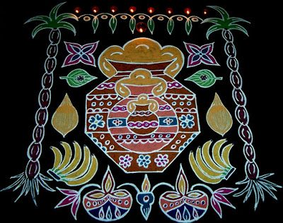 Vanathi's Rangoli: Beautiful Pongal / Makar Sankranti Rangoli with do...