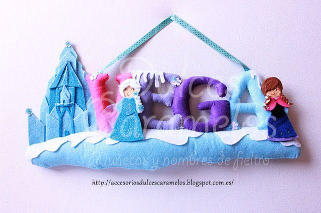 Nombre fieltro Frozen para Vega con Anna Elsa y castillo Helado / Name felt custom Castle http://accesoriosdulcescaramelos.blogspot.com.es/2015/11/nombre-fieltro-frozen-para-vega.html