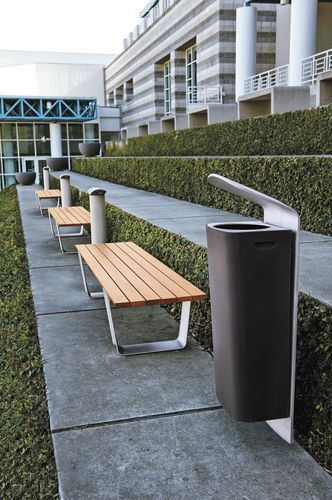 Public trash can / roto-moulded / aluminum MULTIPLICITY by Yves Behar & fuseproject landscapeforms