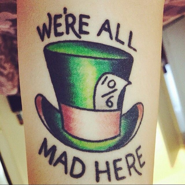 """A mad hatter tattoo! Done on @jessihuihui by @cameronrandall666!#disneytattoos…"