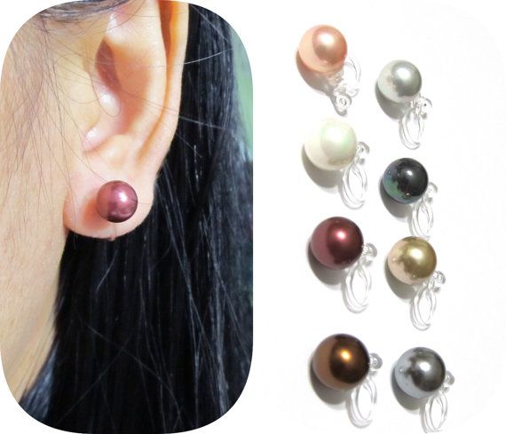 8mm Comfortable Clip On Earrings 10a Simple S Pearl Invisible Stud Bridal Wedding In 2018