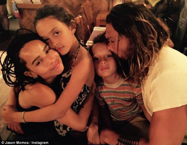 Happy families: Jason Momoa proved the bond among he and his close and extended family when he took to Instagram to give his 1million followers to share a snap with his kids