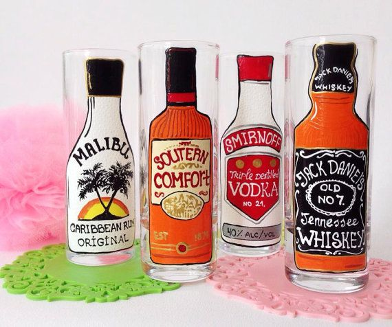 Wedding Personalized Hand Painted  Shot set Wine by AlenaShop, $32.99