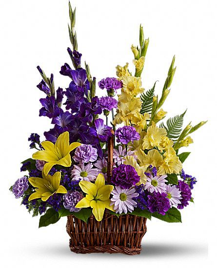 357 best flower arrangements images on pinterest floral a mix of fresh flowers such as asiatic lilies gladioli carnations and daisy spray chrysanthemums in shades of yellow and purple is delivered in a mightylinksfo