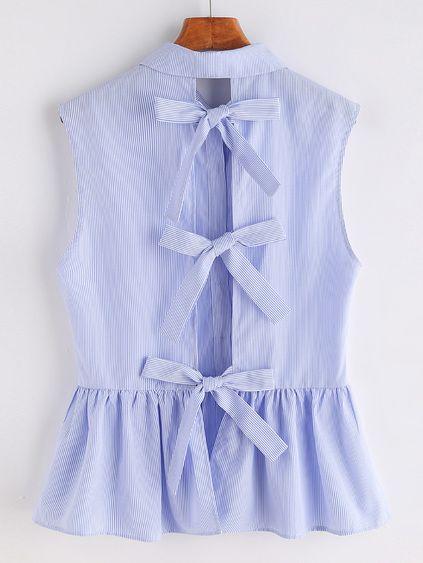 Blusa de rayas con cordón de lazo sin mangas con péplum