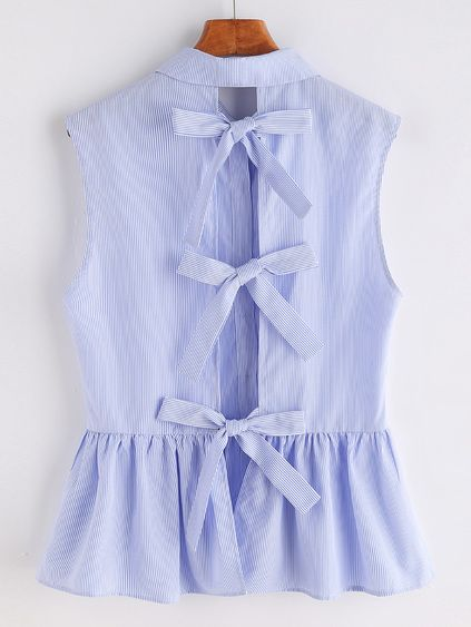 Striped Bow Tie Split Back Sleeveless Peplum Shirt