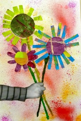 "Inspired from Eric Carle's Book: ""A small seed"" - Collage (Note: Arms are photocopies of children's arms) Sooo cute"