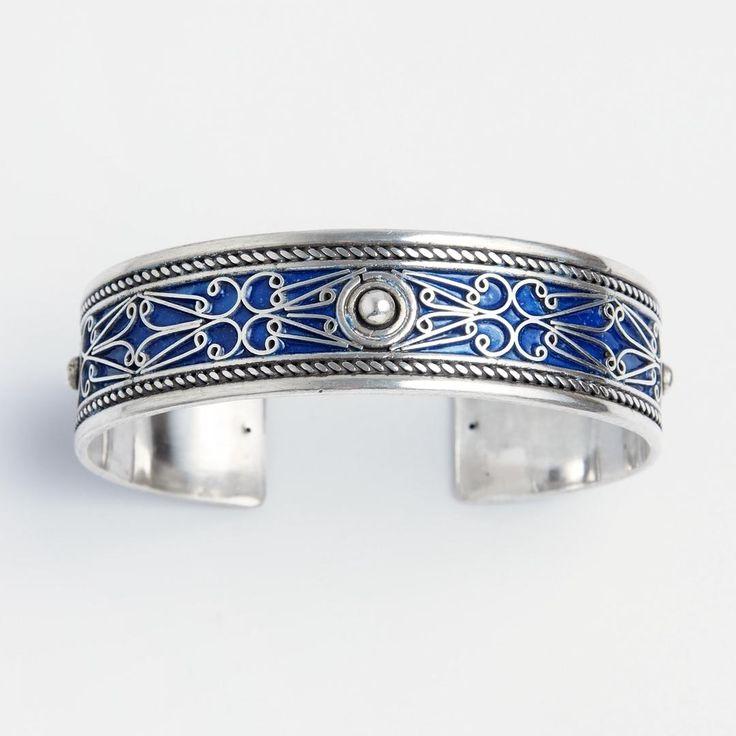 Brățară Atlas, argint și email, Maroc #metaphora #morocco #silverjewellery #silverjewelry #bracelet  #enamel #bangle