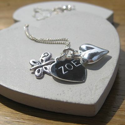 £19.99 Sterling silver butterfly and heart. Engraved just for you | The Personalised Gift Shop