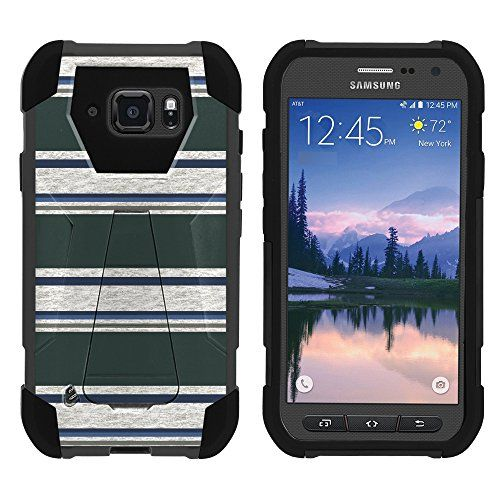 Buy Galaxy S6 Active Phone Case, Silicone Gel and PC Combination SHOCK Impact Kickstand Case with Dazzling Designs for Samsung Galaxy S6 Active SM-G890 by MINITURTLE - Blue Green Stripes NEW for 10.99 USD | Reusell