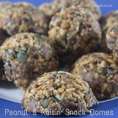 Peanut  and Raisin Snack Domes for lunch boxes, hiking snacks, sports events or homework snacking by www.kellyfrancis.co.za