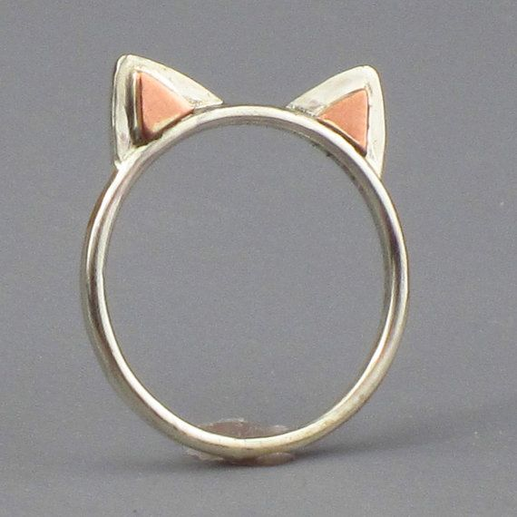 : Kitty Cat, Cat Accessories, Cute Cat, Cat Rings, Sterling Silver, Ears Rings, Kitty Rings, Cat Ears, Kittycat