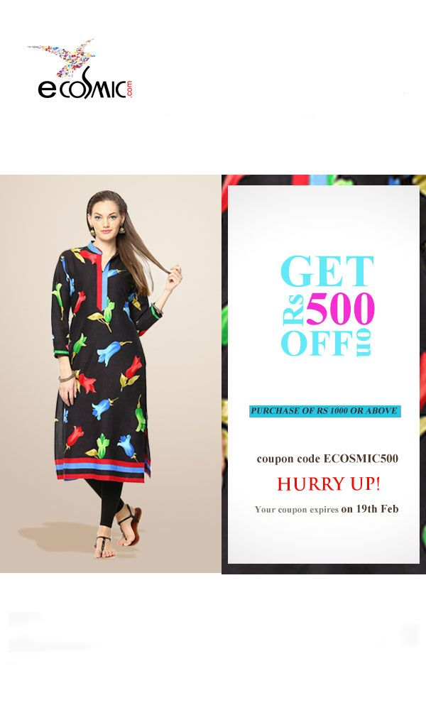 Get Rs. 500 off on shopping Shree kurtis for Rs. 1000 or above. Use Coupon: ECOSMIC500. No conditions apply!