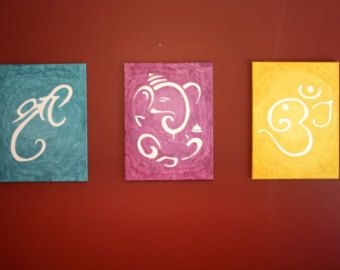 Shree / Ganesha / Om Canvas Painting by LagunaArtCo on Etsy