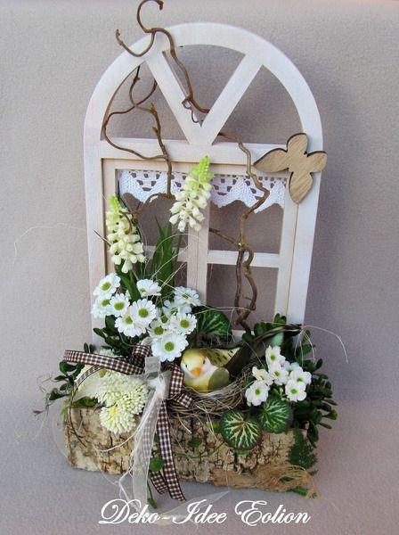 """Gesteck Frühling """"Fensterbrettgezwitscher"""" von Deko-Idee Eolion auf DaWanda.com"""