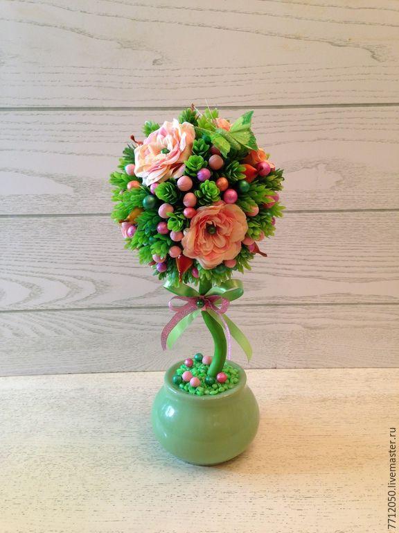 """Купить Топиарий """"Зелёная бабочка"""" Дерево счастья! - салатовый, ярко-зелёный, топиарий"""