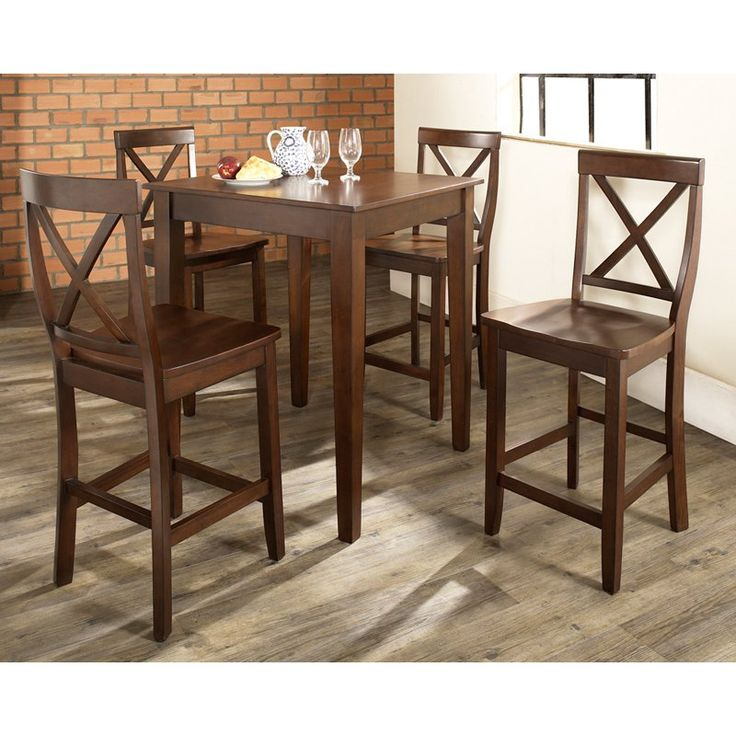 Crosley 5-Piece Pub Dining Set with Tapered Leg and X-Back Stools - KD520005