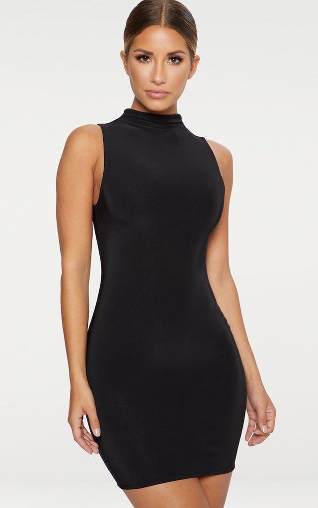 a72213ecba3dc0 Black Second Skin Double Layered Slinky High Neck Sleeveless Bodycon Dress