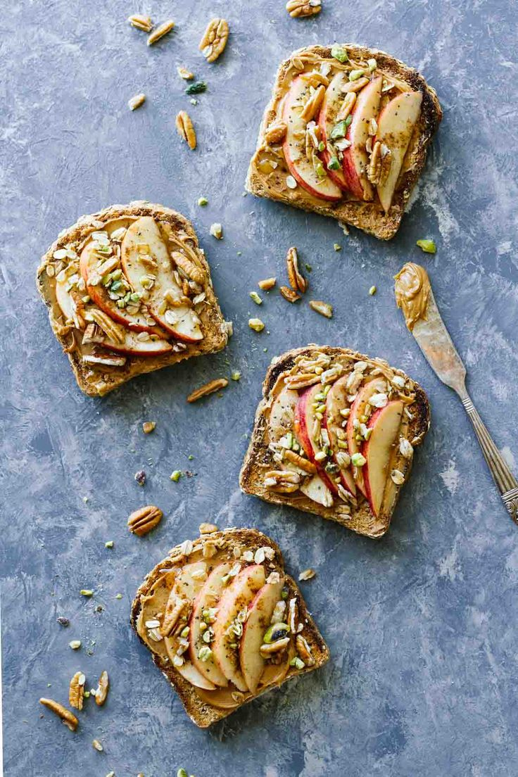 Apple Cinnamon Peanut Butter Breakfast Toast! Easy, healthy, vegetarian, and only takes 5 minutes to make!