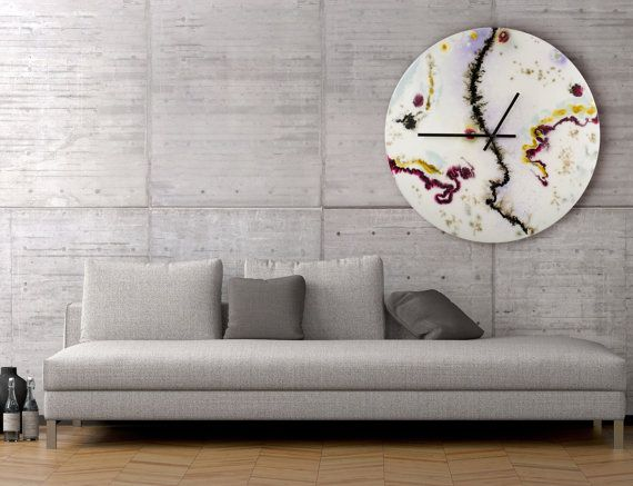 Malka Design Wall Art : Large white wall clock glass sculpture collectible