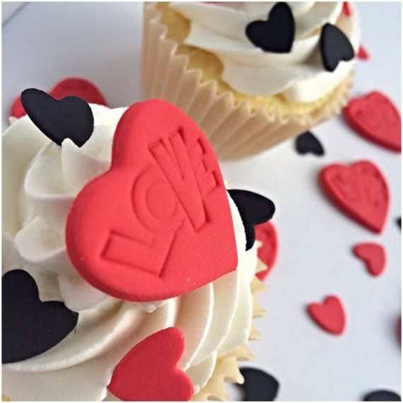Valentine Cupcake Topper Red Heart Topper by TheVillageCakeCo