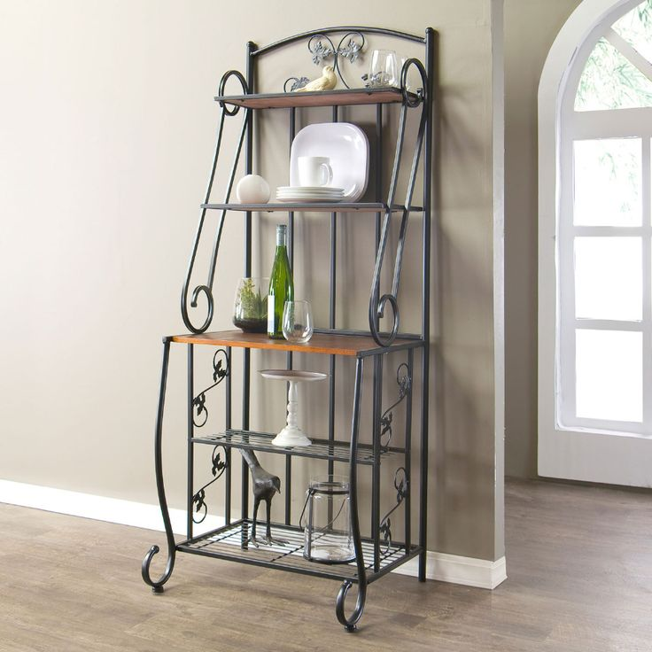 Baxton Studio - High Pomona Wood & Metal Transitional Baker's Rack in Black