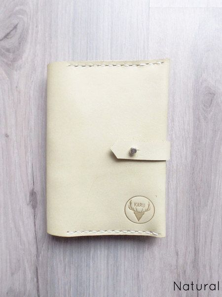 Natural Handmade Leather Travel Wallet by KaruHandmade on Etsy