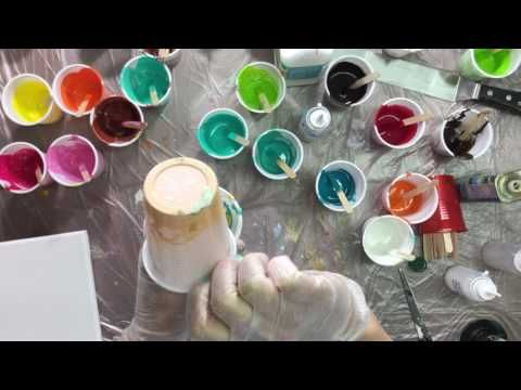 ( 074 ) acrylic pouring olive oil + how to make a pendant ( request ) - YouTube