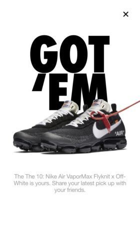 c72512cc62c6 Off-White X Nike Air VaporMax Size 10.5 FK Flyknit The Ten Black Clear  AA3831-00