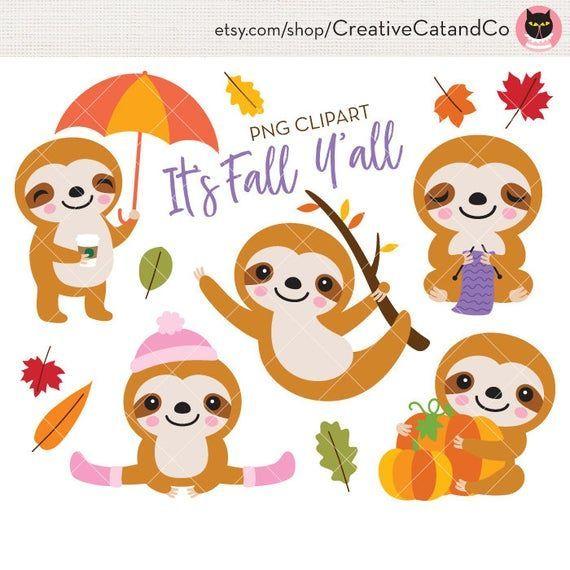 Sloth Fall Autumn Season Clipart Cute Baby Sloth On A Tree Branch Fall Pumpkin Knitting Planner Png Clipart Cli Cute Baby Sloths Clip Art Birthday Illustration