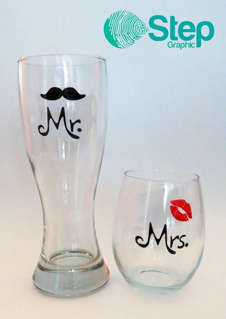 Vasos de vidrio Mr. & Mrs. Personalizados.