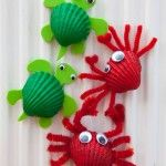 Shell Crafts – Crab Fridge Magnets