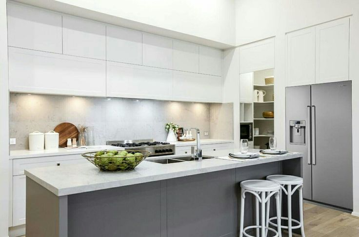 Caesarstone Noble Grey kitchen benchtop paired with white cabinetry