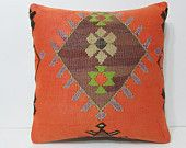 kilim pillow 24x24 orange kilim pillow orange throw pillow orange pillow cover orange pillow case orange decorative pillow orange rug 22698