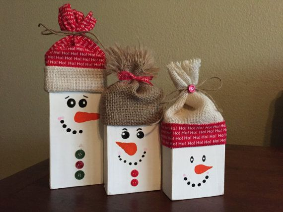 Wooden Snowmen; Snowmen Blocks; Rustic Snowmen; Snowmen set; Hand Painted…