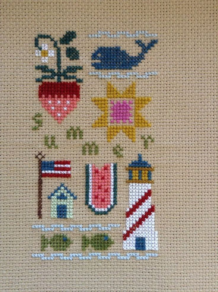 completed cross stitch Lizzie Kate new Summer sampler
