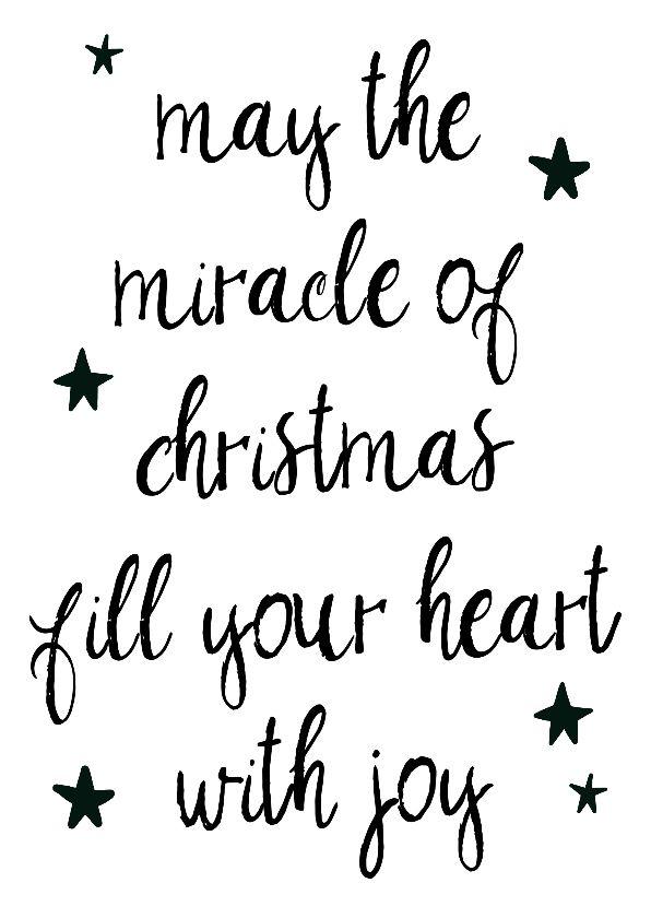 """Zwartwit kerstkaartje in scandinavische stijl met de quote """"May the miracle of Christmas fill your heart with joy"""", verkrijgbaar bij #kaartje2go voor € 0,99"""