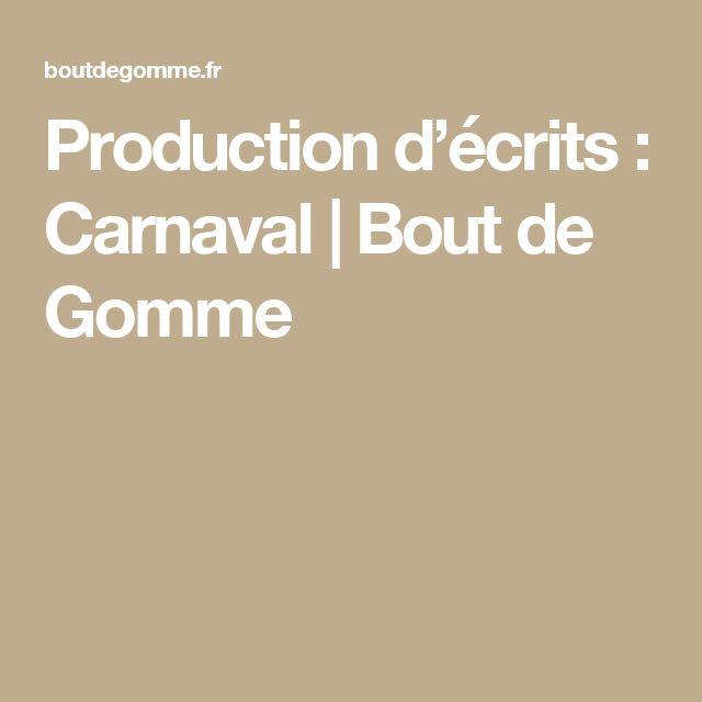 Production D'écrits : Carnaval