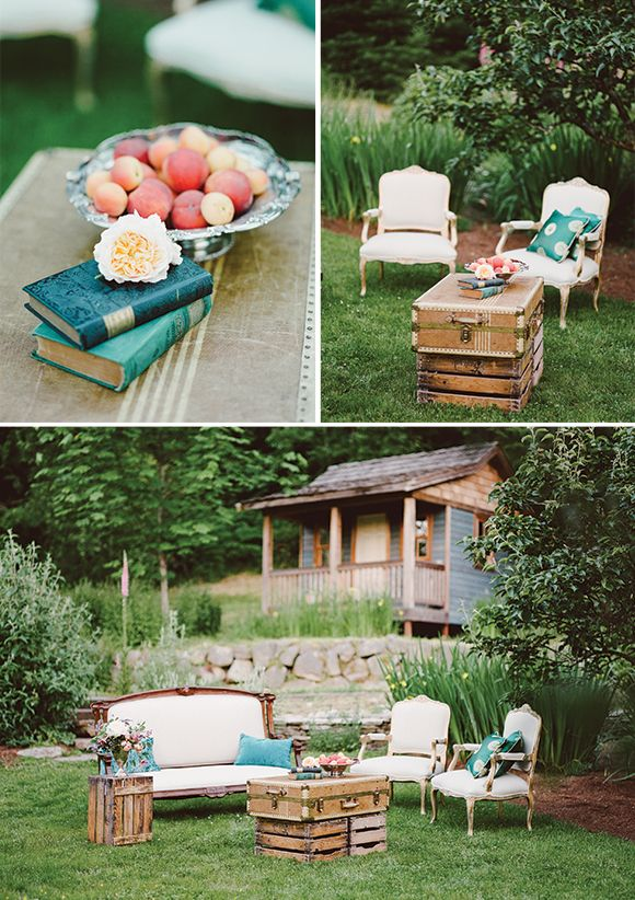 Beautiful farm wedding inspiration by Jennifer Tai. Would love to have little sitting areas like this, but I feel it would just be an excuse for me to go thrifting