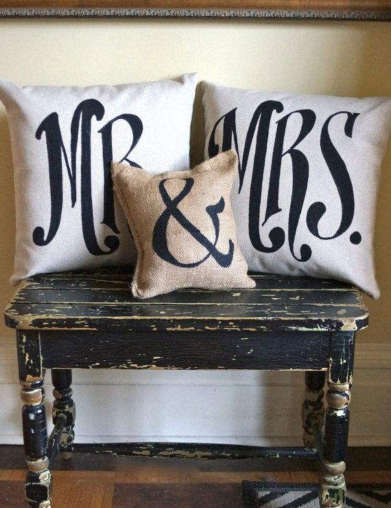 Mr & Mrs  Pillow set with ampersand burlap mini pillow - Wedding Pillow - Engagement - Anniversary on Etsy, $68.00