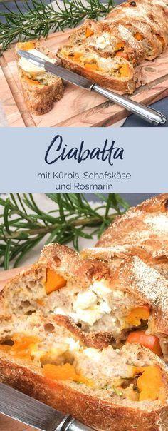 Keine Arbeit nur Geschmack! Das Brot ist so schnell gemacht und unbeschreiblich lecker! Ciabatta mit Kürbis, Schafskäse und rosmarin ZUTATEN 600 g Mehl ich verwende gerne Vollkornmehl 450 ml Wasser lauwarm nicht heiß! Bei Vollkornmehl bitte ca. 50ml mehr Wasser 1 TL Zucker 2 TL Salz 1 EL Olivenöl ca 1 EL Hartweizengrieß #nokneadbread #ciabatta #brot #rosmarin #kürbis