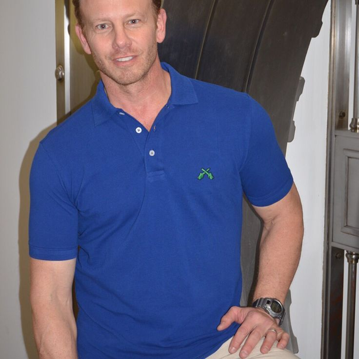 TGIF! Get Your Saw On! Actor Ian Ziering in @chainsaw brands.com Royal Blue Pima Polo. Classic American style and comfort.  Available in sizes S-3XL.