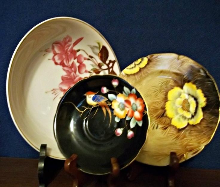 Occupied Japan era (1947-1952) hand-painted porcelain plates from Ardalt Occupied Japan factories, Aladdin Occupied Japan factories, and Noritake.
